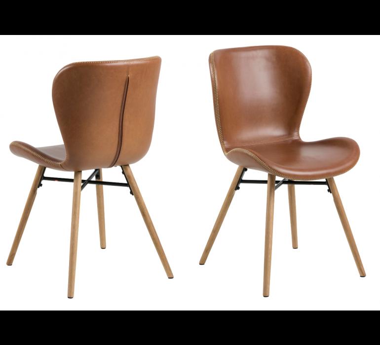 Chaise scandinave moderne bois et marron ( lot de 2) KRYSTEN