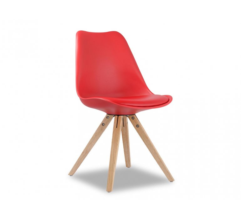 Chaise scandinave rouge SUEDE