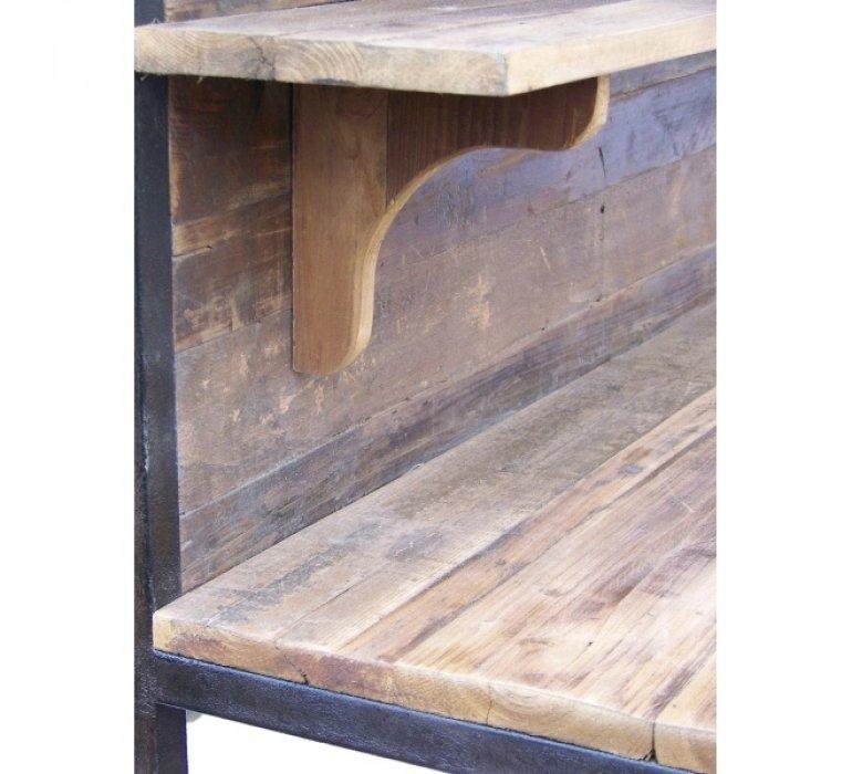 Console industrielle établi en bois massif sur roulettes PEARLAR