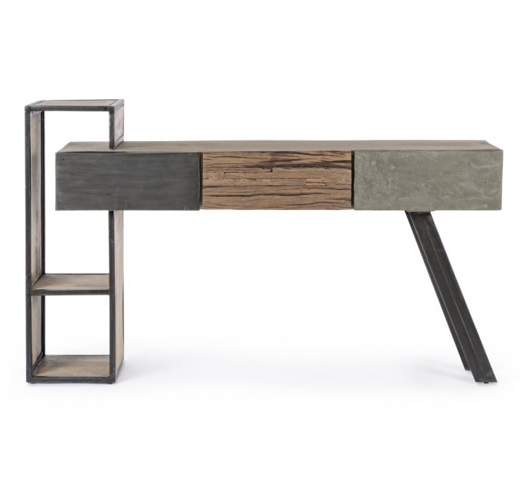 Console moderne bois métal béton BRADFORD
