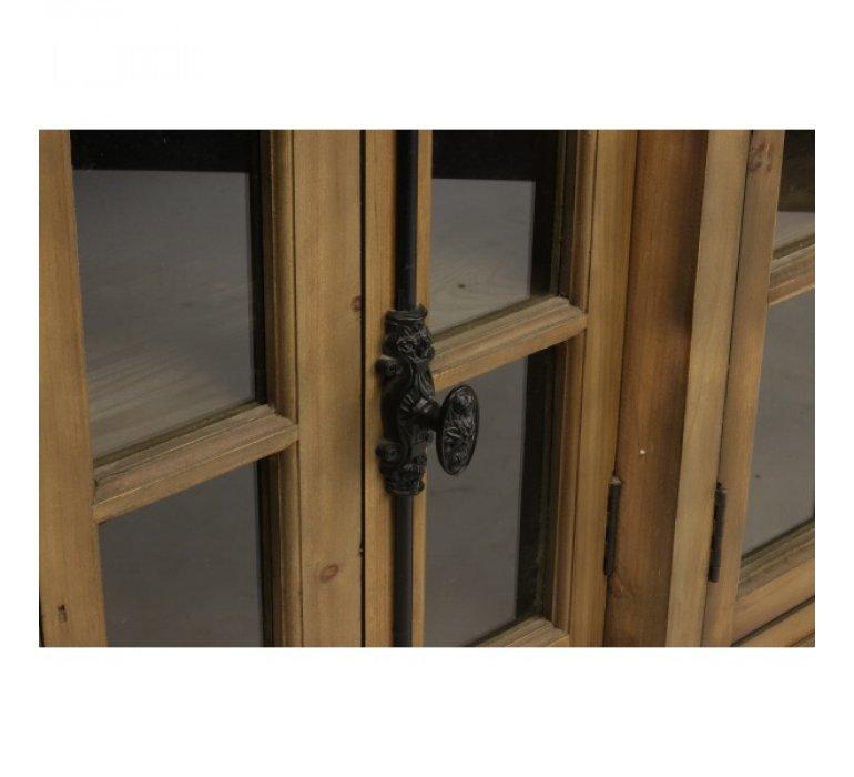 Buffet industriel en bois massif avec portes vitrées 200cm PARYLAN