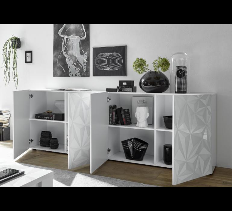 Bahut design blanc laqué avec motifs VINTIMILLE