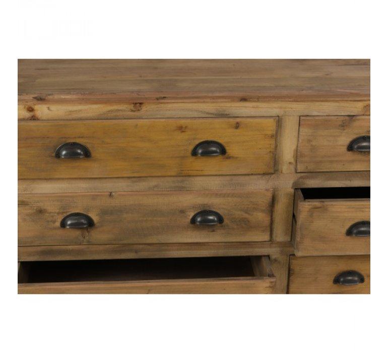 Buffet bois massif de pin recyclé industriel 9 tiroirs IGOR