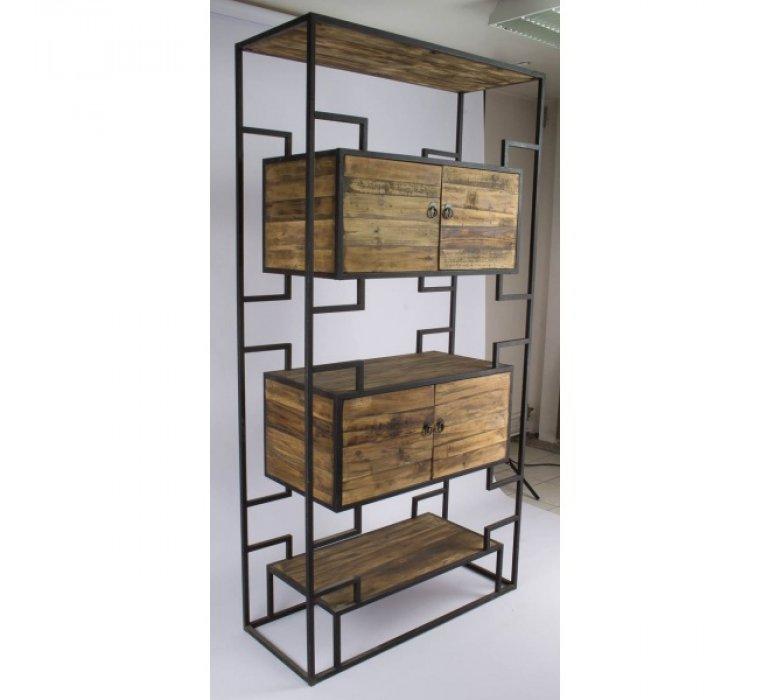 Etagére industrielle bois massif de pin et métal 4 portes RAGNAR