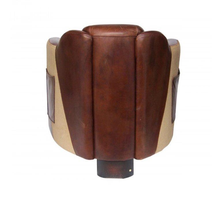 Fauteuil cigare cuir marron avec poche HORSE