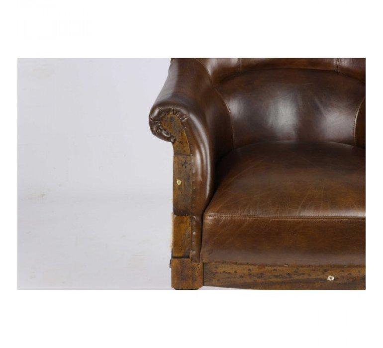 Fauteuil cuir marron british WILLIAM
