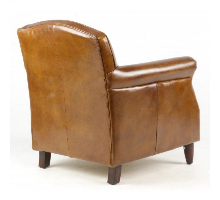 Fauteuil cuir marron clouté style vintage NORMANDY