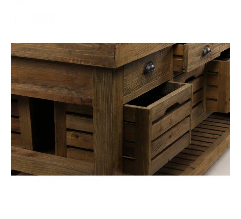 Ilot de cuisine industriel en bois massif recyclé de pin 180cm JARY