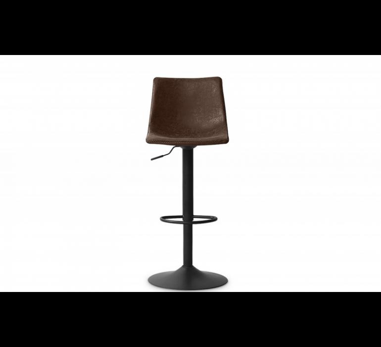 Tabouret de bar réglable vintage marron et métal noir ORLANDO