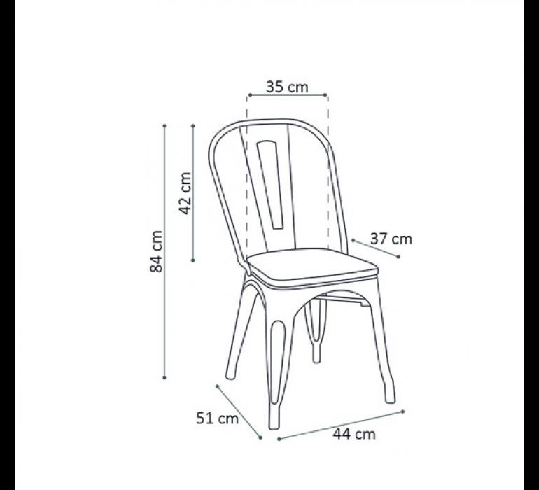 Chaise en métal noir style industriel et bois HIPSTER