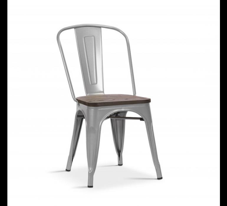 Chaise grise en métal et bois massif style industriel HIPSTER