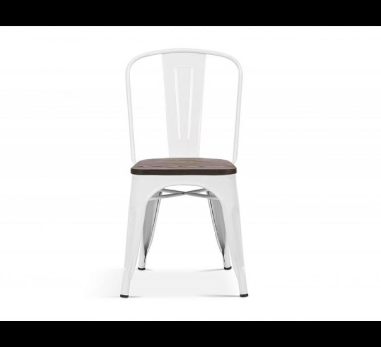 Chaise industrielle métal blanc et bois massif foncé HIPSTER