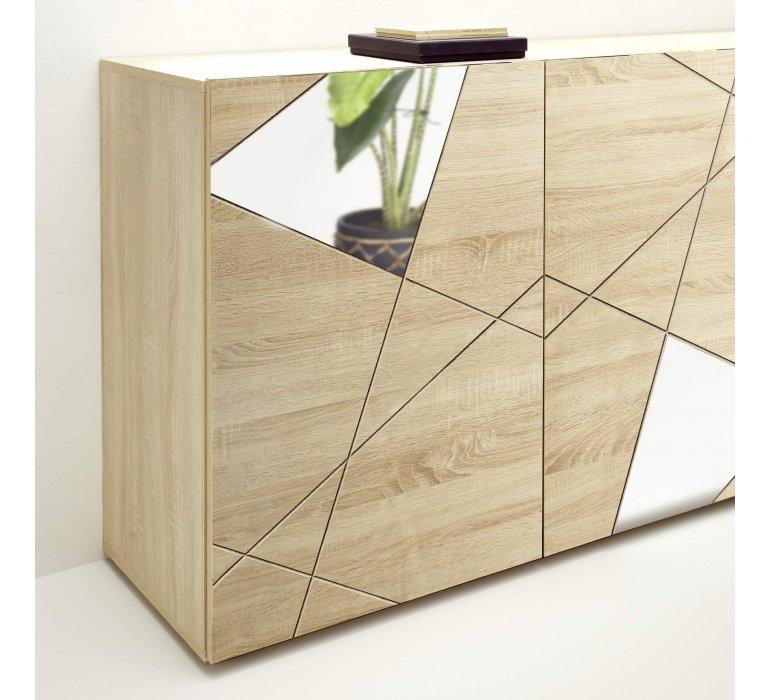 Buffet moderne bois clair 4 portes avec miroirs 240cm MESSINE