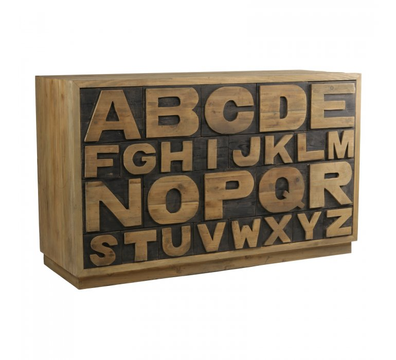 Buffet alphabet en bois massif recyclé industriel ALFABETO