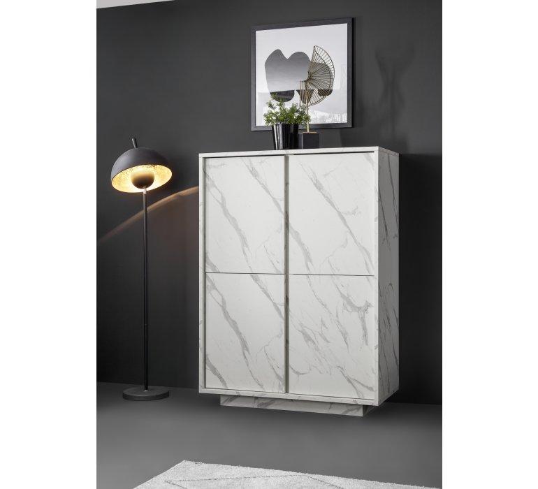 Meuble buffet haut moderne blanc effet marbre THALES