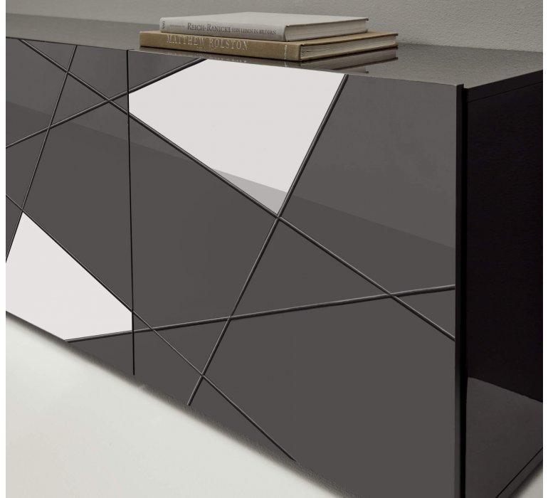 Meuble TV design gris anthracite 3 portes avec miroirs 180cm BERMUDE