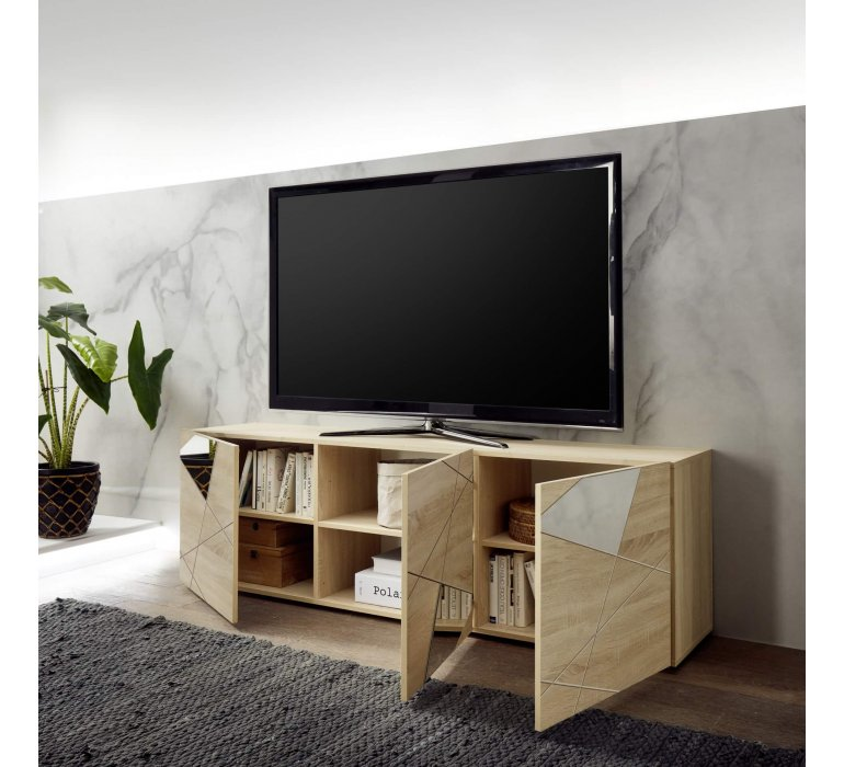 Meuble TV moderne bois clair 3 portes avec miroirs 180cm MESSINE