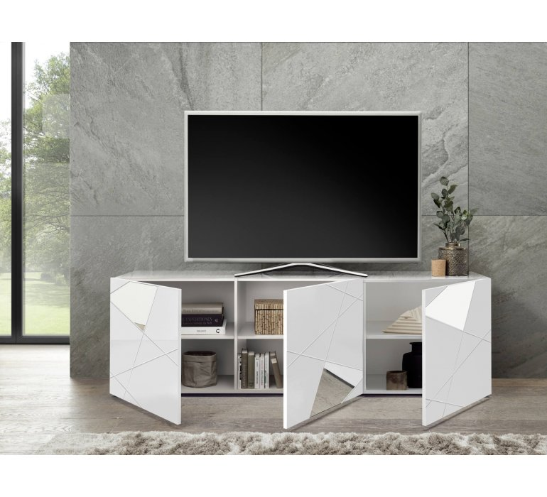 Meuble TV design blanc laqué 3 portes avec miroirs 180cm MILANO