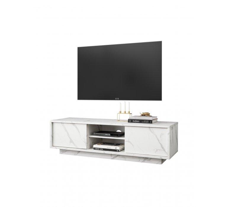 Meuble TV moderne blanc effet marbre THALES