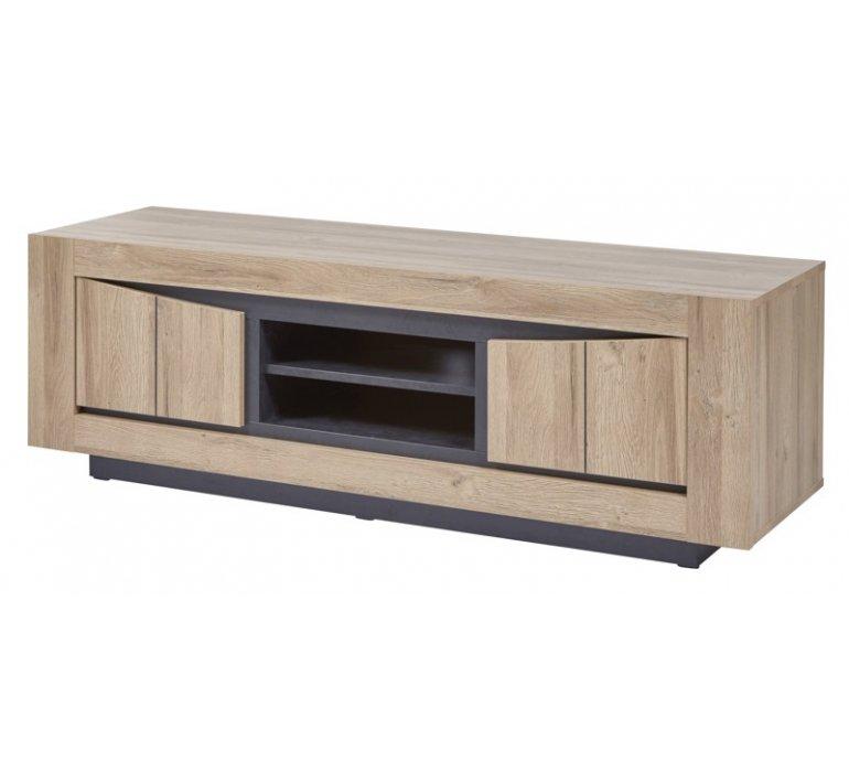 Meuble TV moderne bois clair 2 portes LENSON