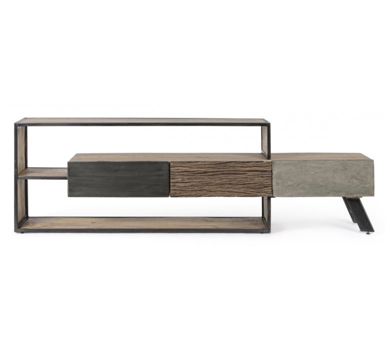 Meuble TV moderne bois métal béton BRADFORD