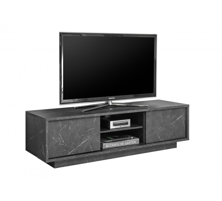 Meuble TV moderne gris marbré OLYMPE