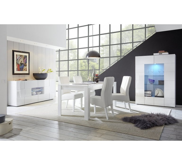 Salle à manger blanc laqué design LAZIO
