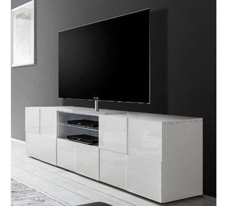 Banc TV blanc laqué design LAZIO