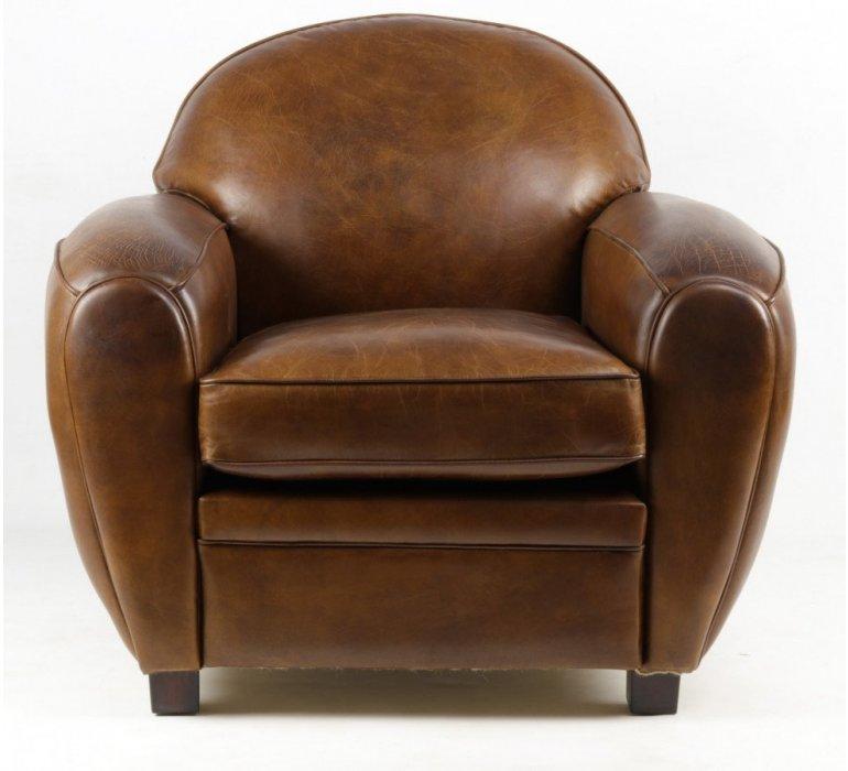 Fauteuil cuir marron BOUBA