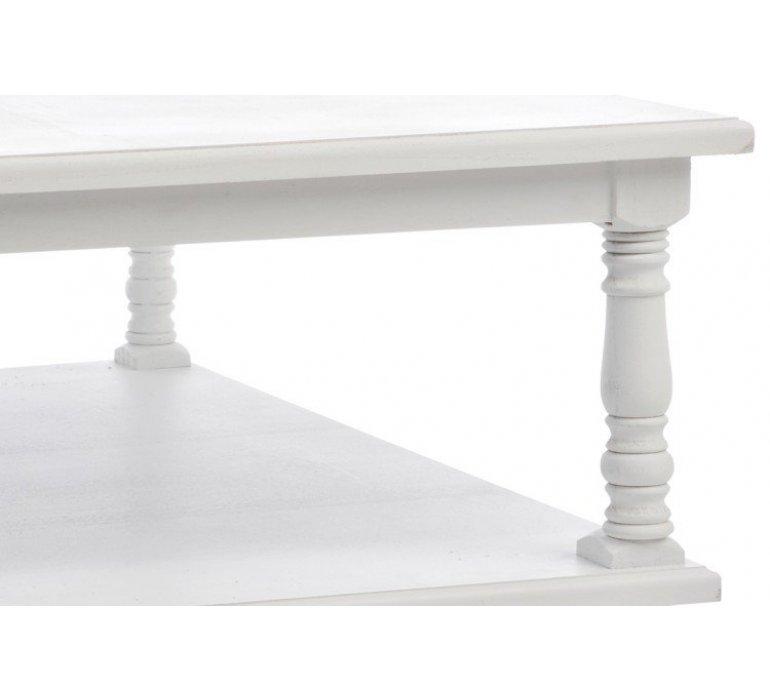 Table de salon carrée bois style charme MEREDITH