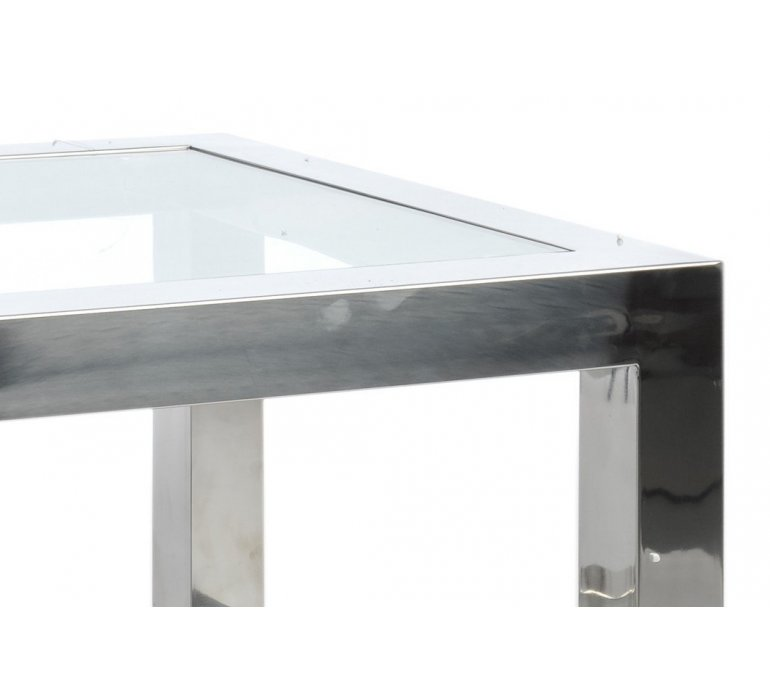 Table d'appoint en verre et chrome moderne BADABEST