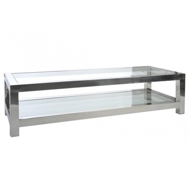 Table de salon en verre et chrome moderne BADABEST