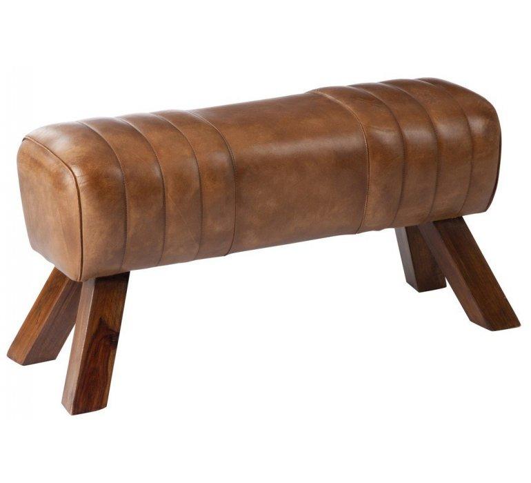 Banc de gymnastique en cuir et bois WHITHLOCK