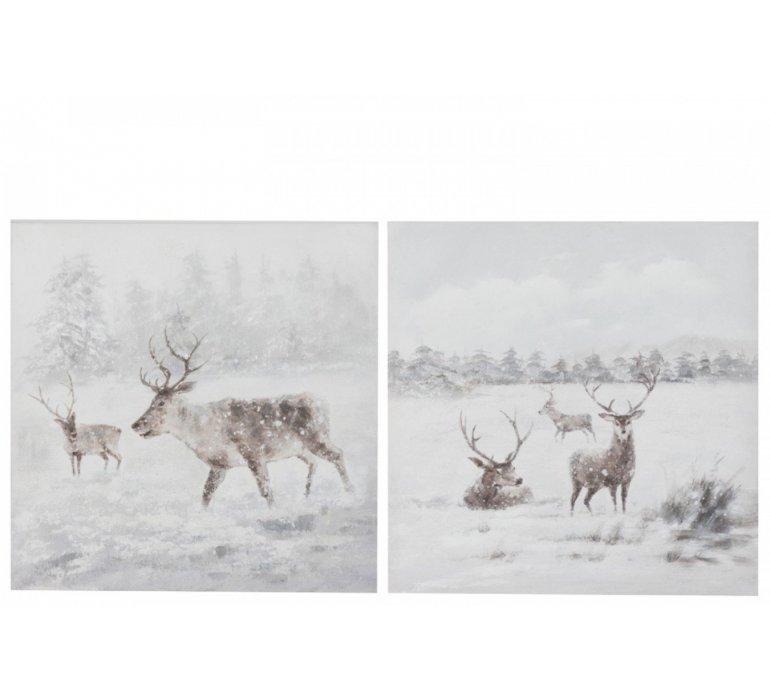 Tableau toile décor cerfs NATURE