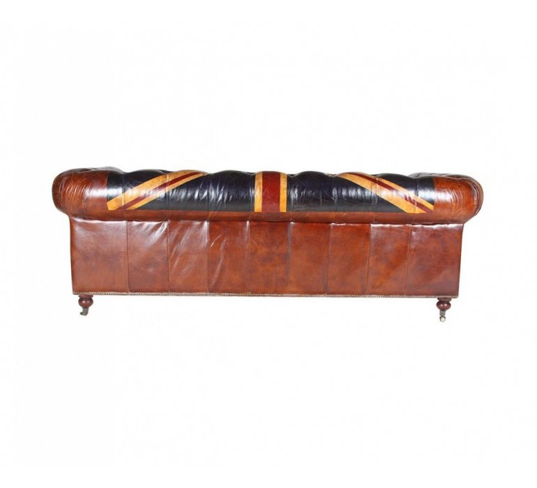 Canapé Chesterfield cuir marron SEBASTIEN