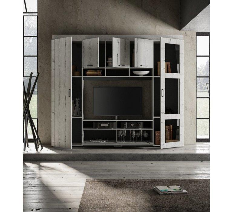 Mur TV bois blanc BIARRITZ