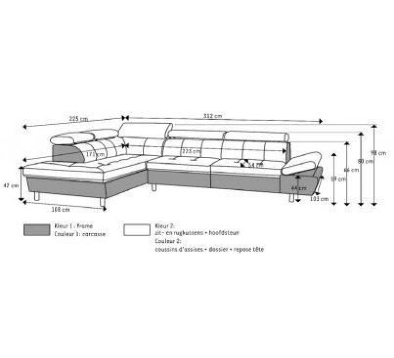 Canapé d'angle en tissu gris clair moderne EVA