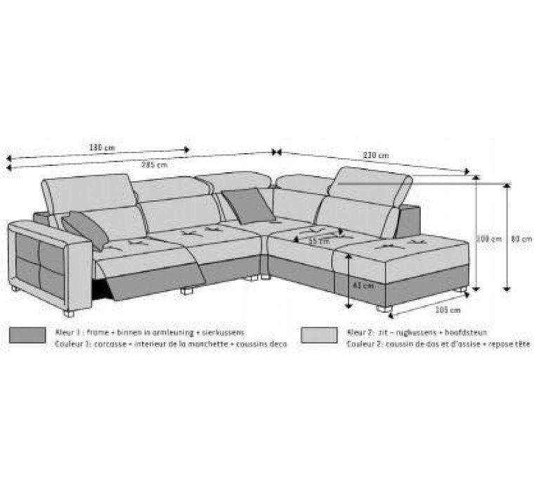 Canapé d'angle avec relaxation en tissu gris OVAE