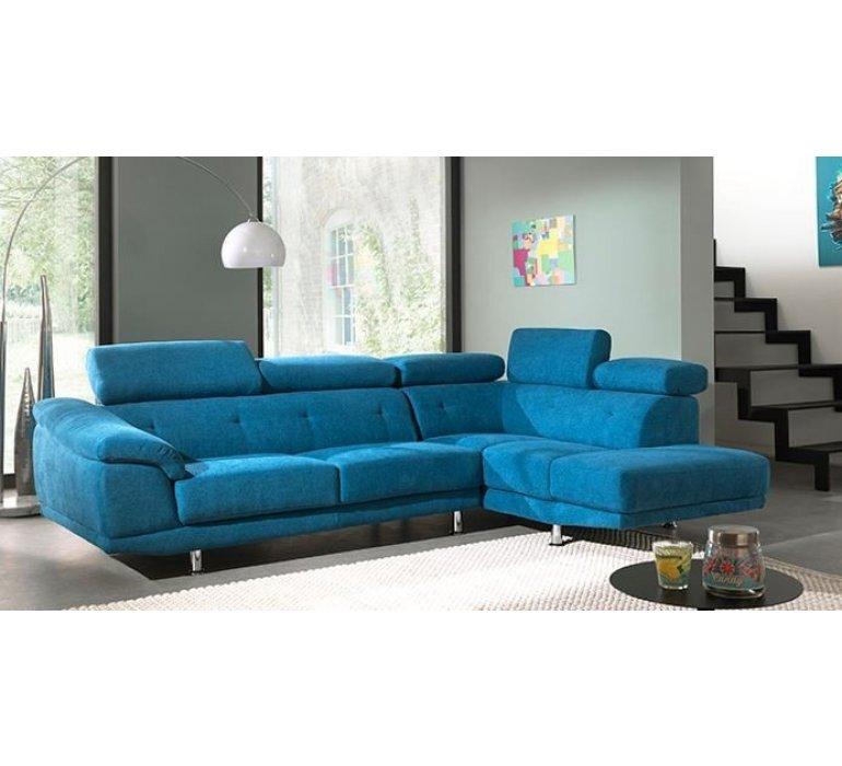 Canapé d'angle en tissu bleu turquoise contemporain LAGON