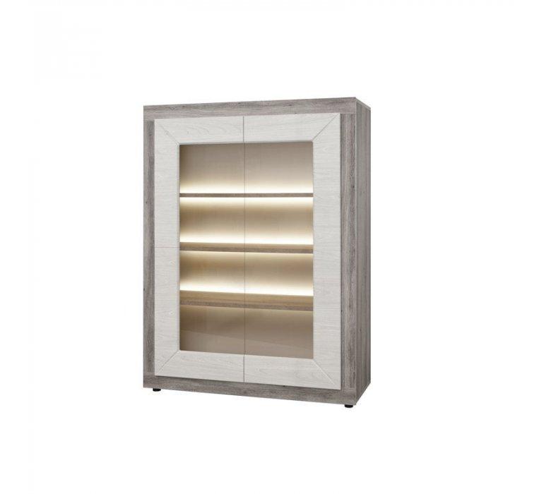 Vaisselier chêne grisé et blanc moderne VENDOME