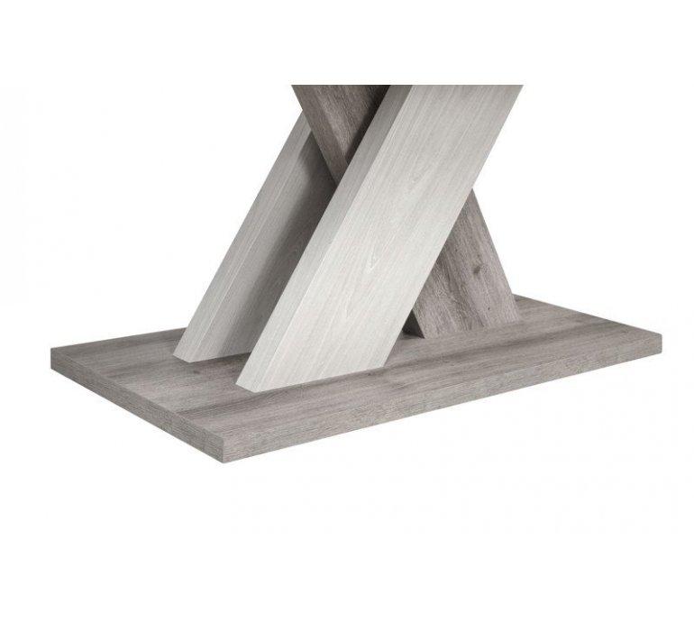 Table à manger avec rallonge chêne grisé et blanc moderne VENDOME