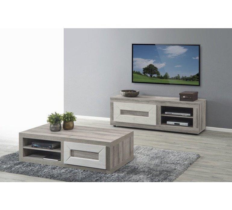 Banc TV chêne grisé et blanc moderne VENDOME