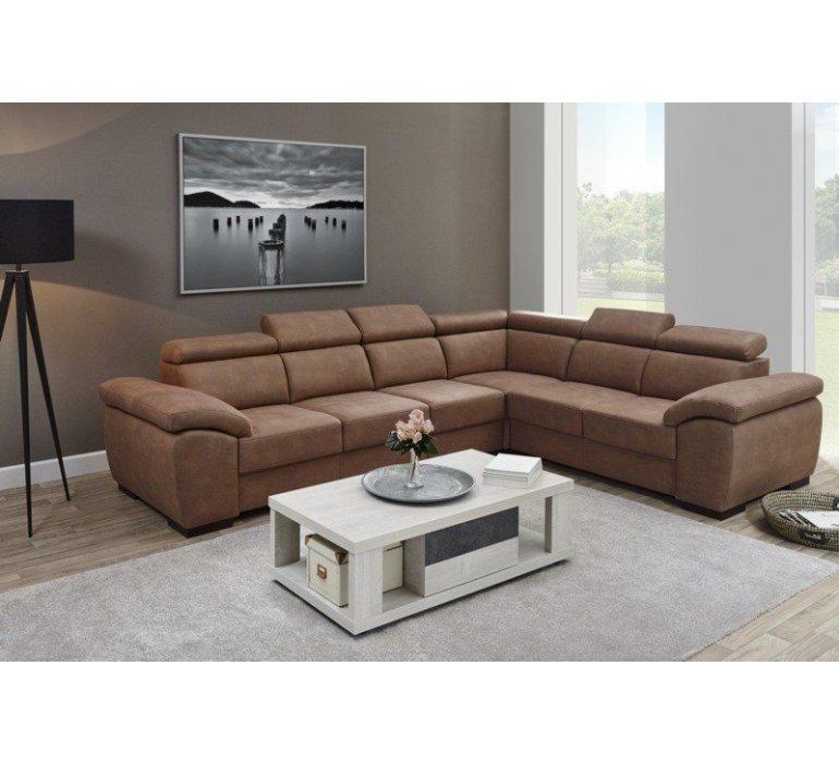 Canapé d'angle en tissu marron TANZANIE