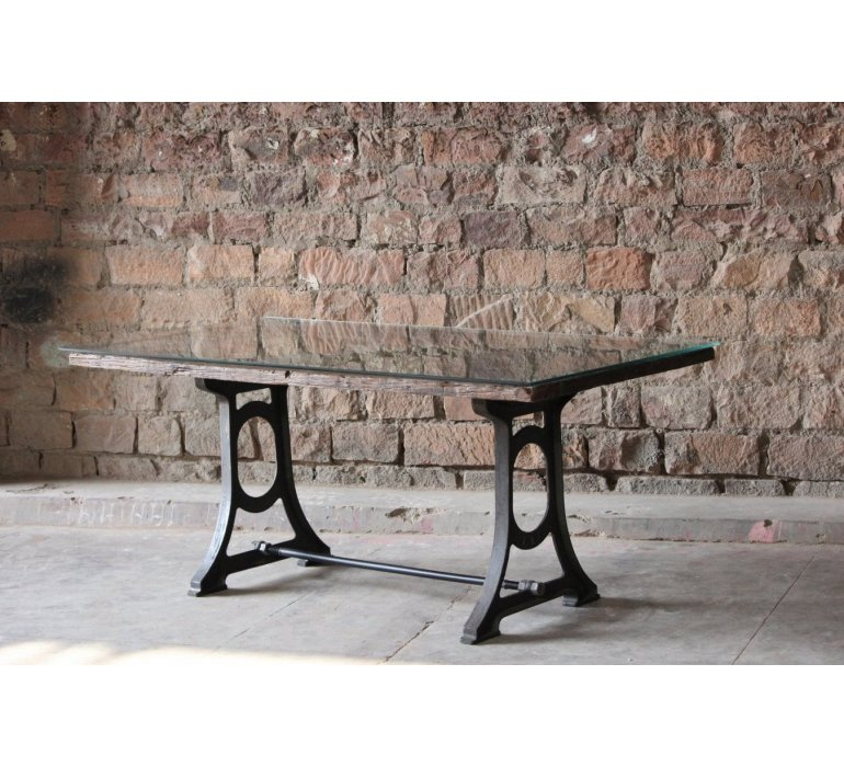 Table à manger chêne et fonte style industriel FIVE