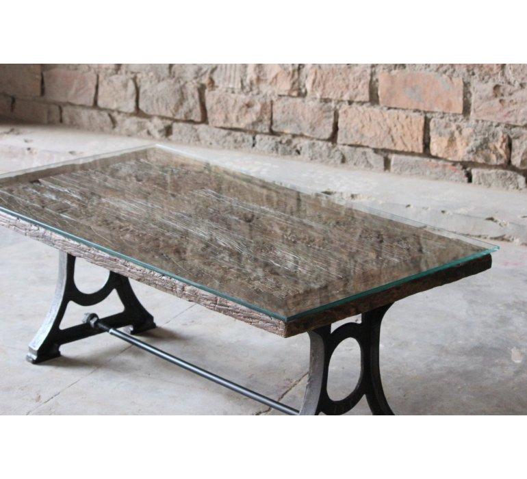 Table basse chêne et fonte style industrielle FIVE