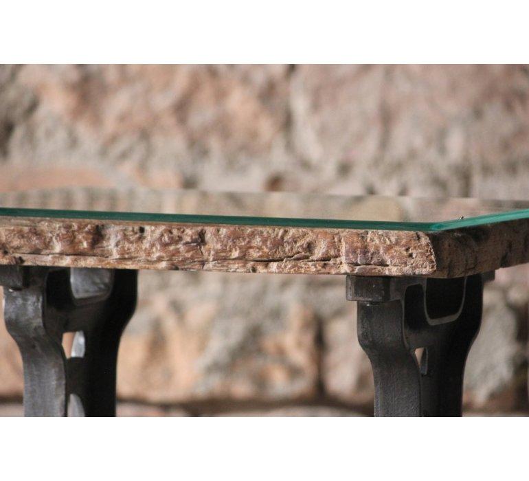 Bout de canapé chêne et fonte industriel FIVE