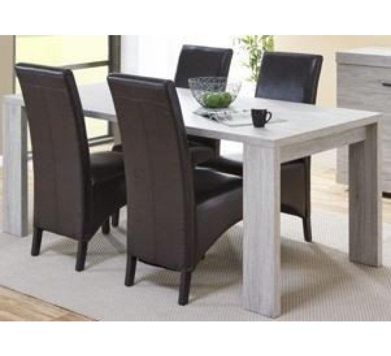 Table à manger chêne gris clair contemporain KRYSTAL