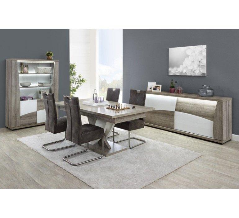 Vaisselier chêne gris et blanc laqué moderne BACCARA