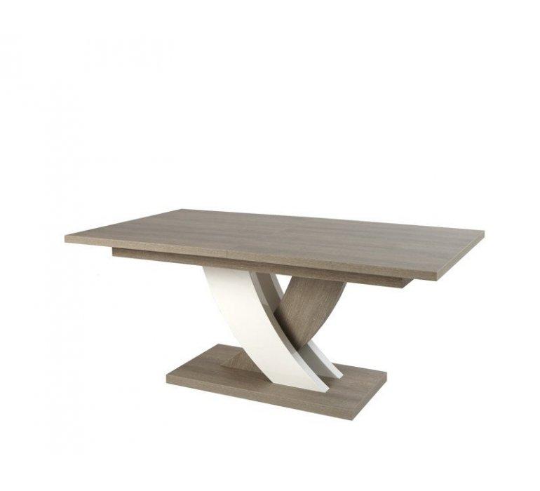 Table à manger chêne gris et blanc laqué moderne BACCARA