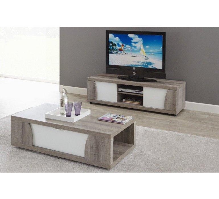 Banc TV chêne gris et blanc laqué moderne BACCARA